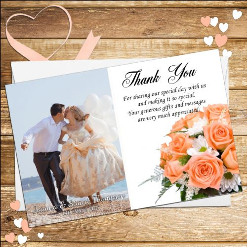 10 Personalised Wedding thank you Photo cards N24